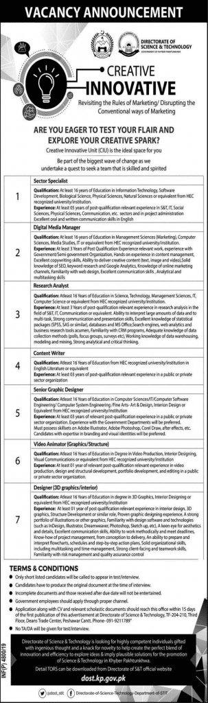 Directorate of Science and Technology Jobs