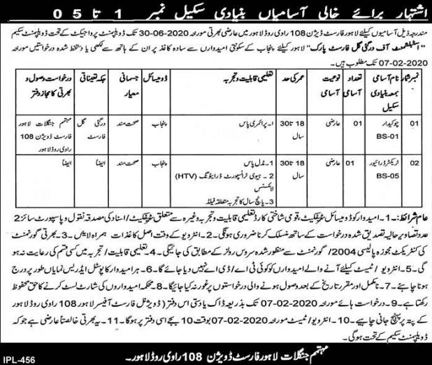 Forest Department Lahore Jobs 2020