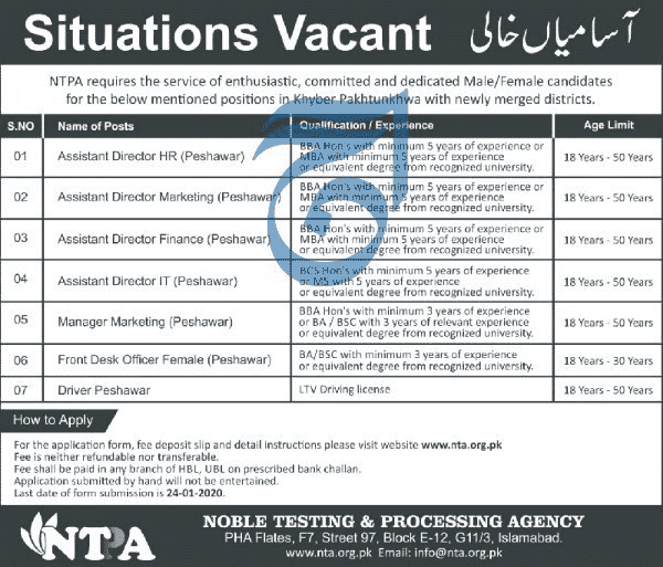Noble Testing Processing Agency Jobs 2020