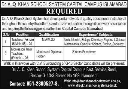 Dr A.Q Khan School System Jobs 2020