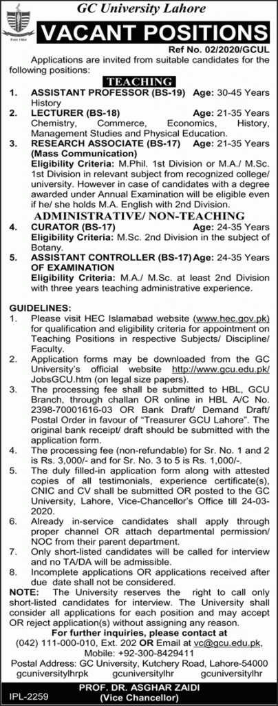 Government College University Jobs 2020