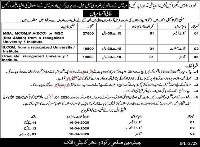 Govt Zakat Commette Jobs 2020