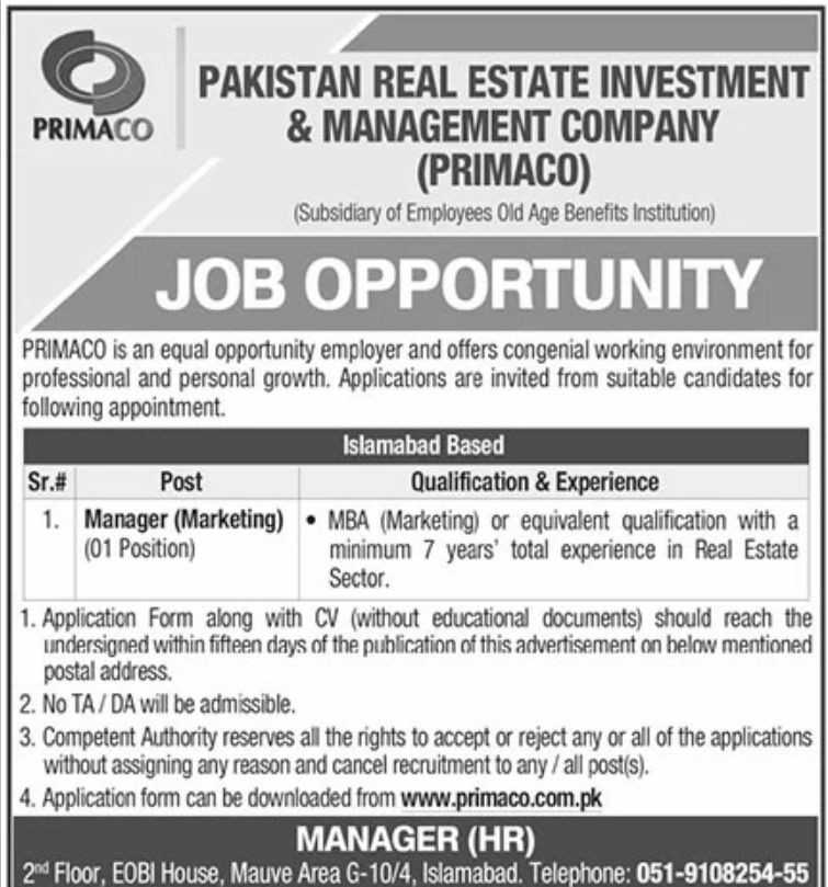 Pakistan Real Estate Jobs 2020