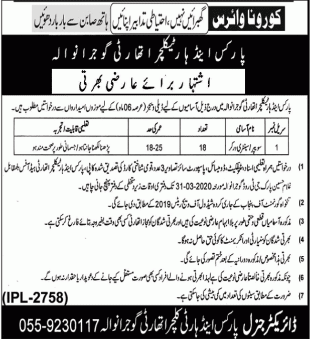 Parks Horticulture Authority Jobs 2020