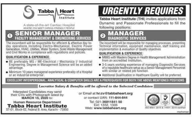 Tabba Heart Institute Jobs 2020