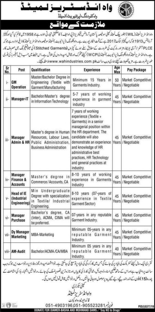 Wah Industries Limited Jobs 2020