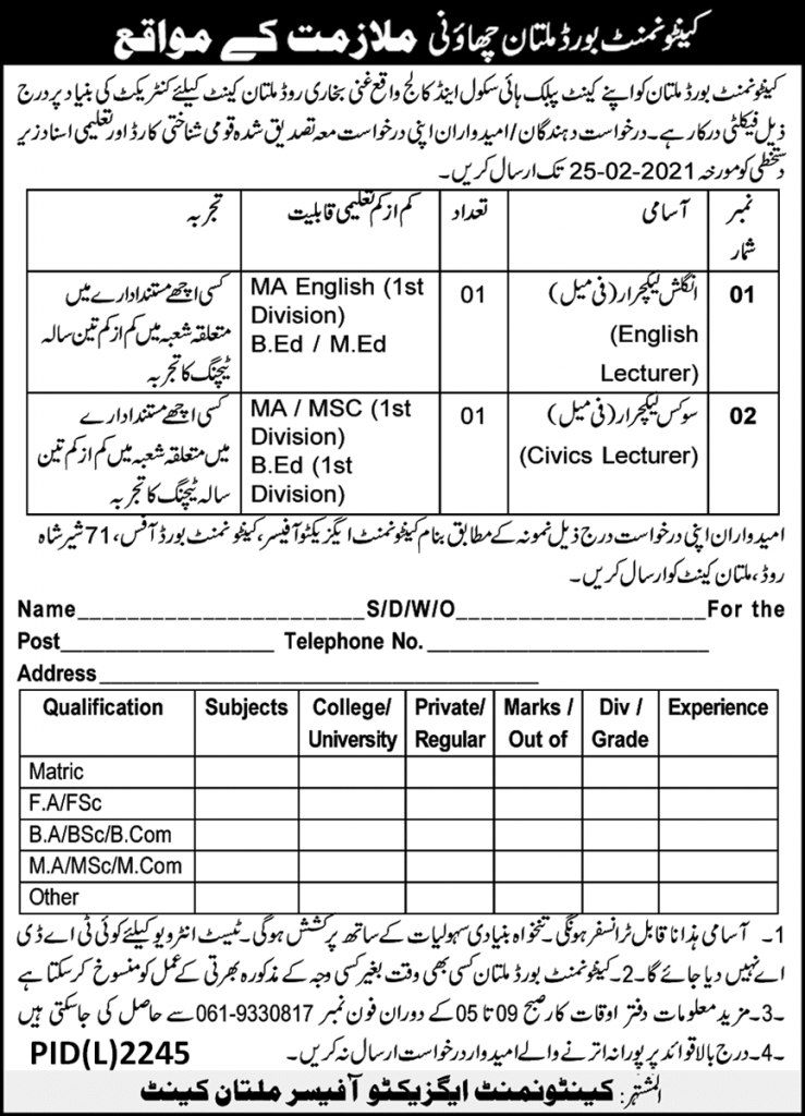 Cantonment Board Multan Jobs 2021