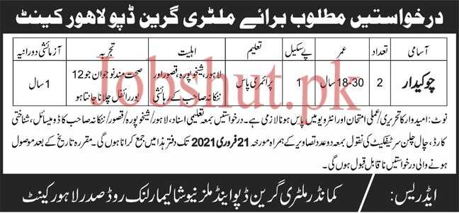 Military Depot Lahore Jobs 2021