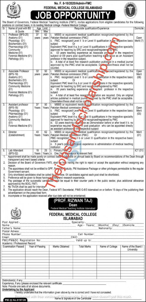 Federal Medical College Jobs 2021