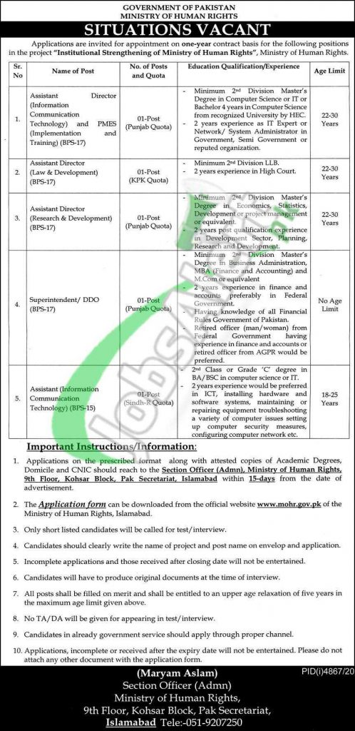 Ministry of Human Rights Jobs 2021