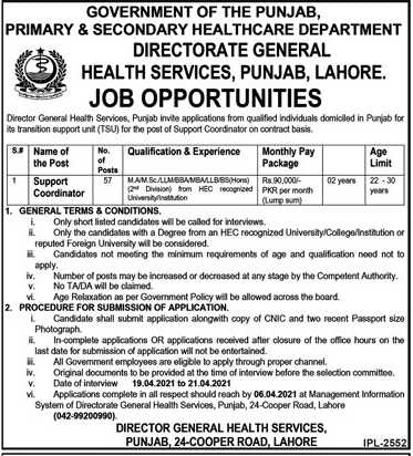 Primary and Secondary Healthcare Jobs 2021
