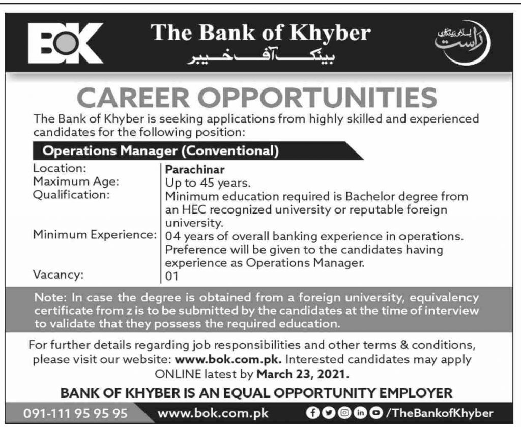 The Bank of Khyber Jobs 2021