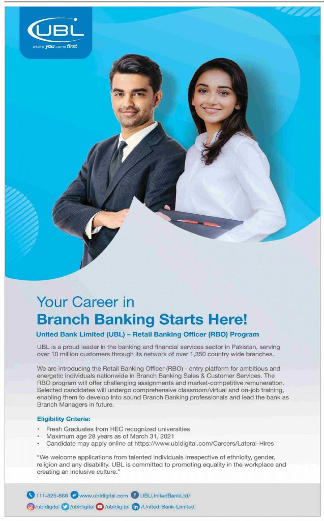 United Bank Limited Jobs 2021