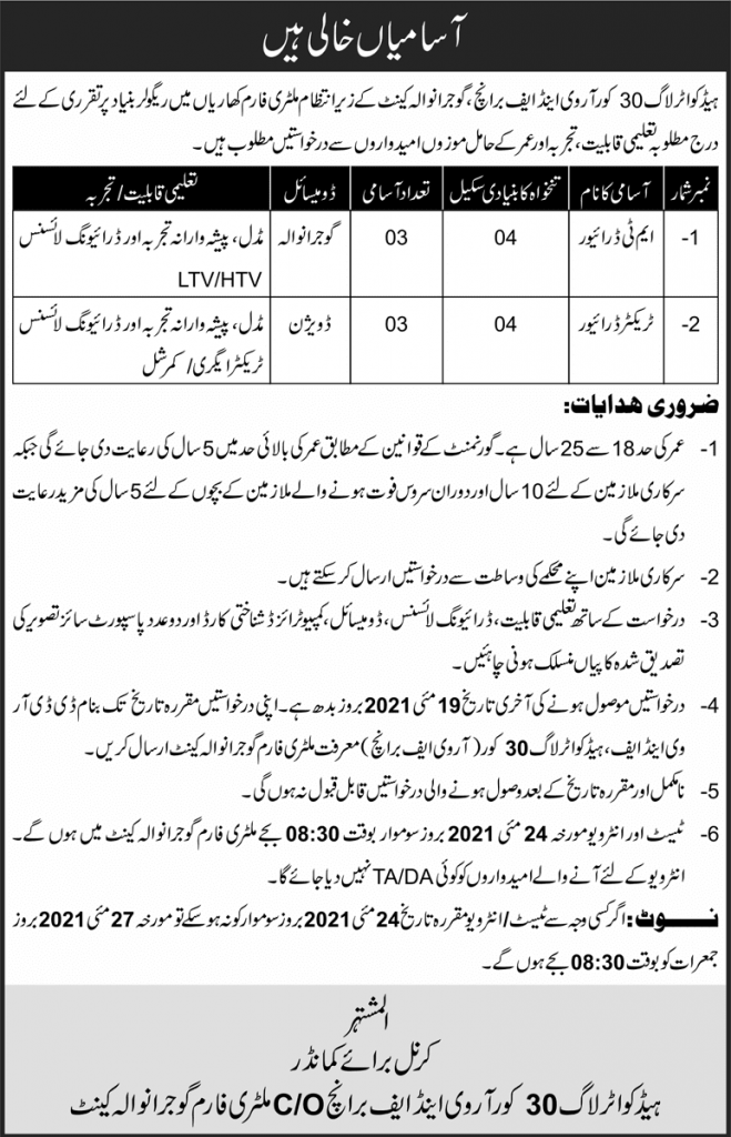 Pakistan Army Driver Jobs 2021