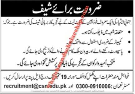 Chef Jobs in Lahore